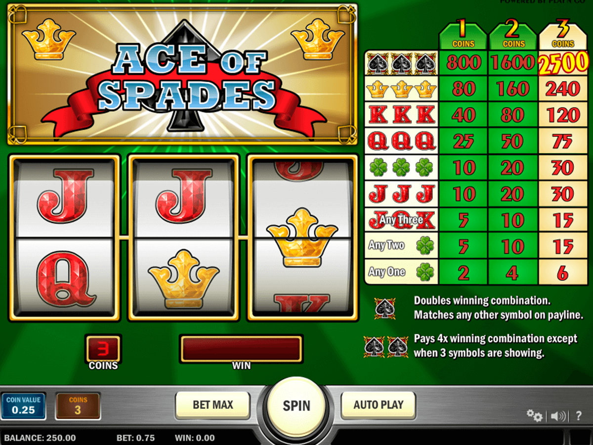 ace of spades playn go casino slot spel