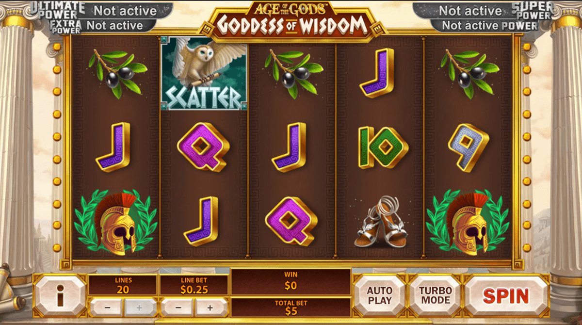 age of the gods goddess of wisdom playtech casino slot spel