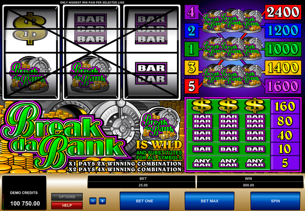 break da bank microgaming casino slot spel