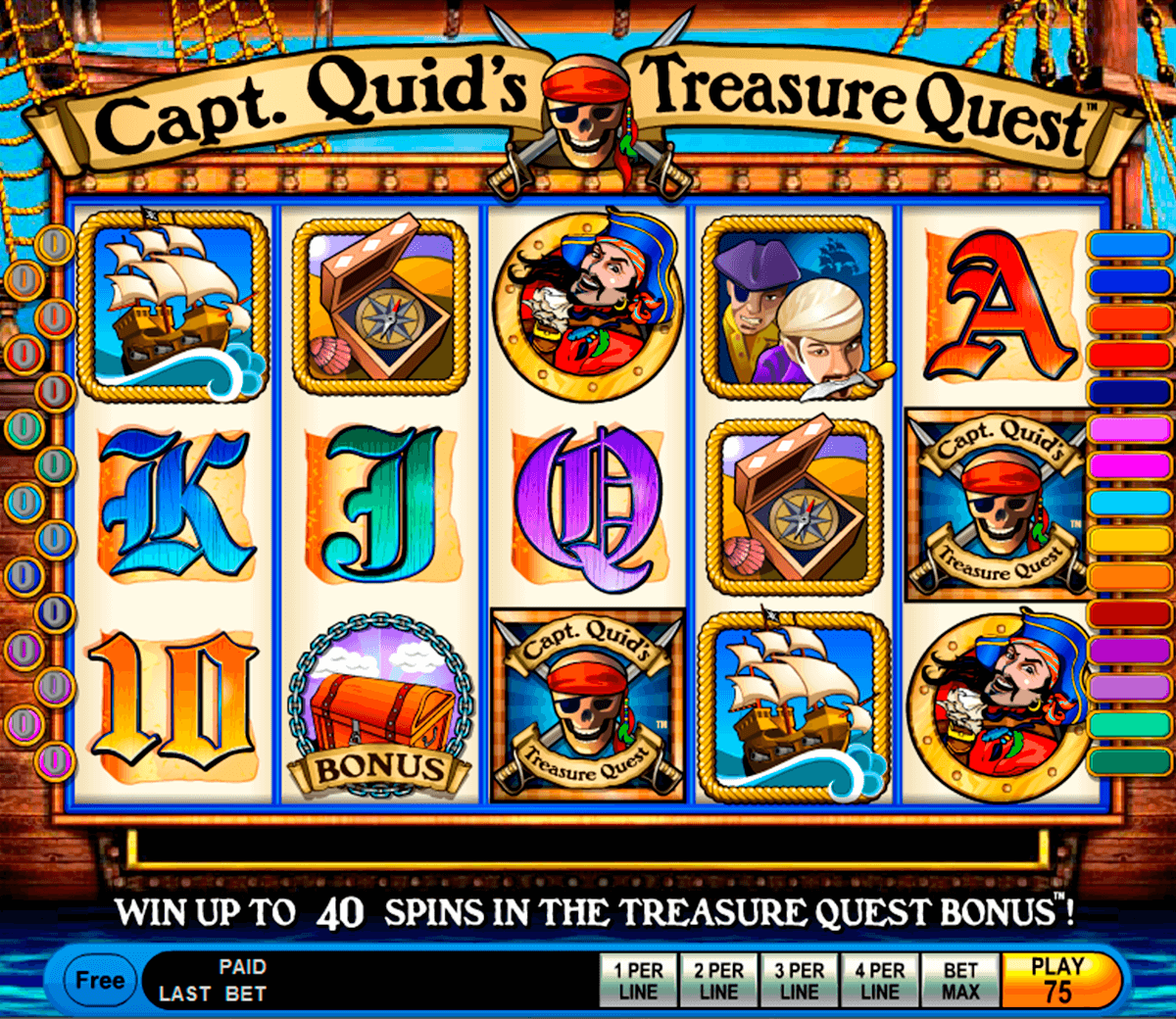 capt quids treasure quest igt casino slot spel