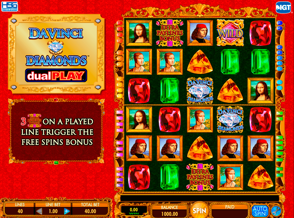 da vinci diamond dual play igt casino slot spel