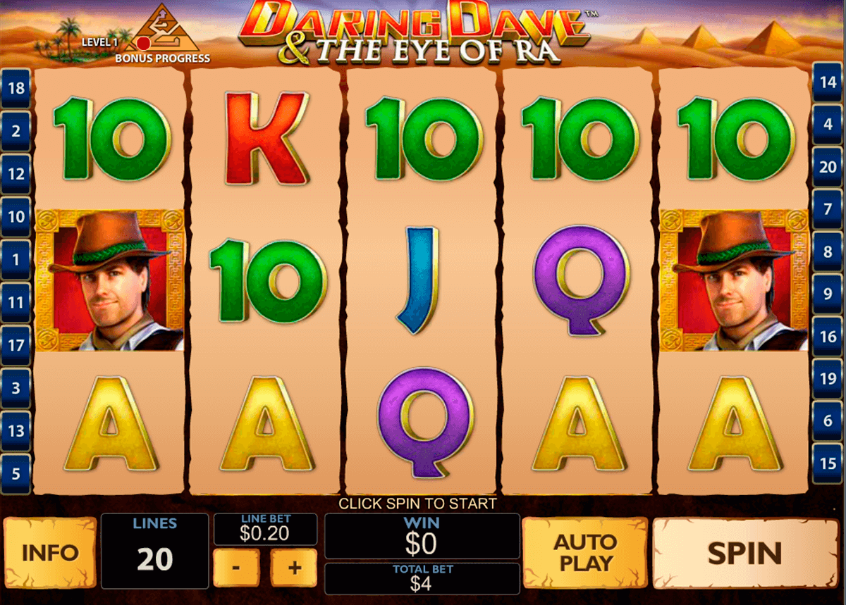 daring dave the eye of ra playtech casino slot spel