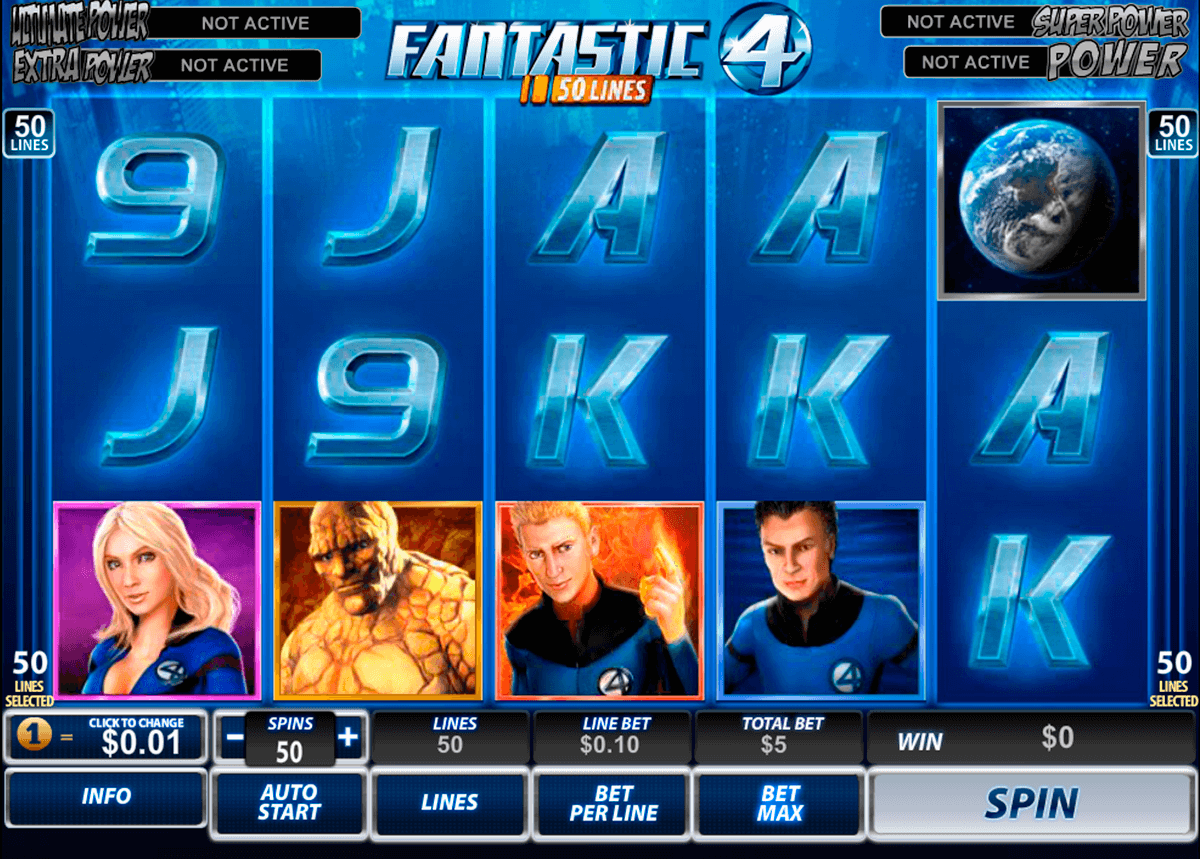 fantastic four 50 lines playtech casino slot spel