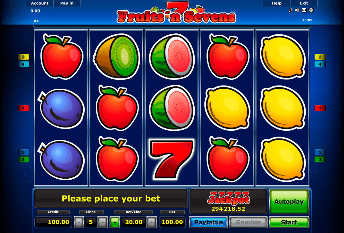 fruitsn sevens novomatic casino slot spel