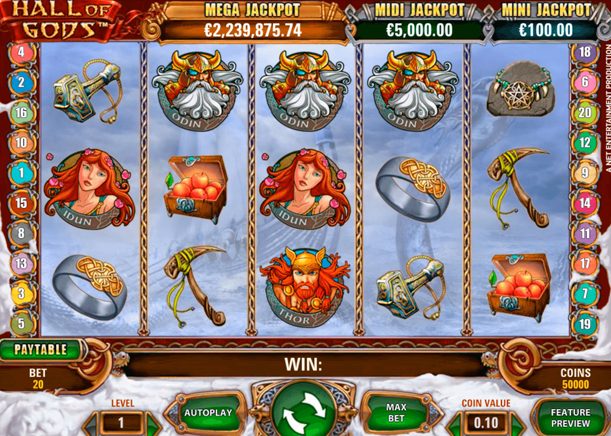 hall of gods netent casino slot spel