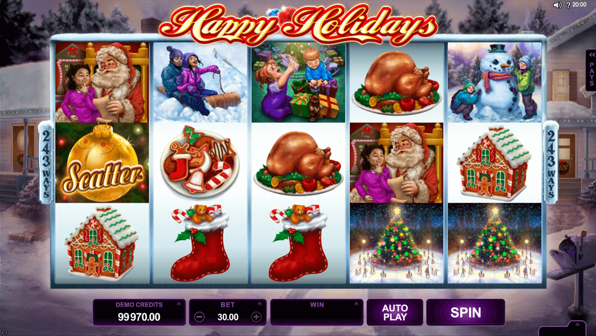 happy holidays microgaming casino slot spel