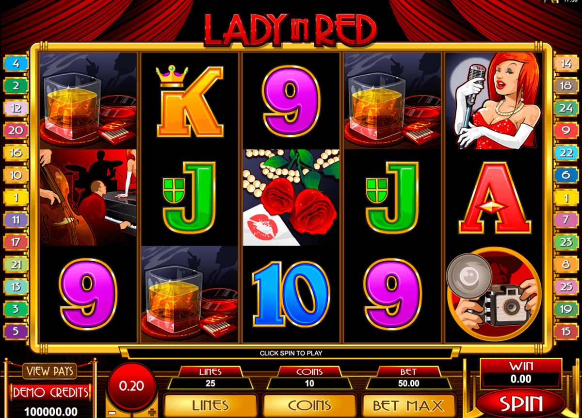 lady in red microgaming casino slot spel