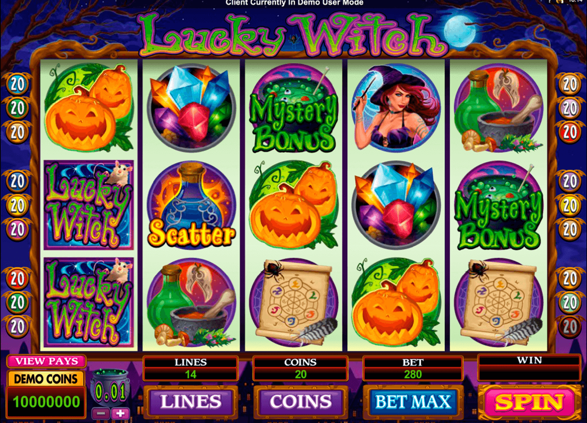 lucky witch microgaming casino slot spel