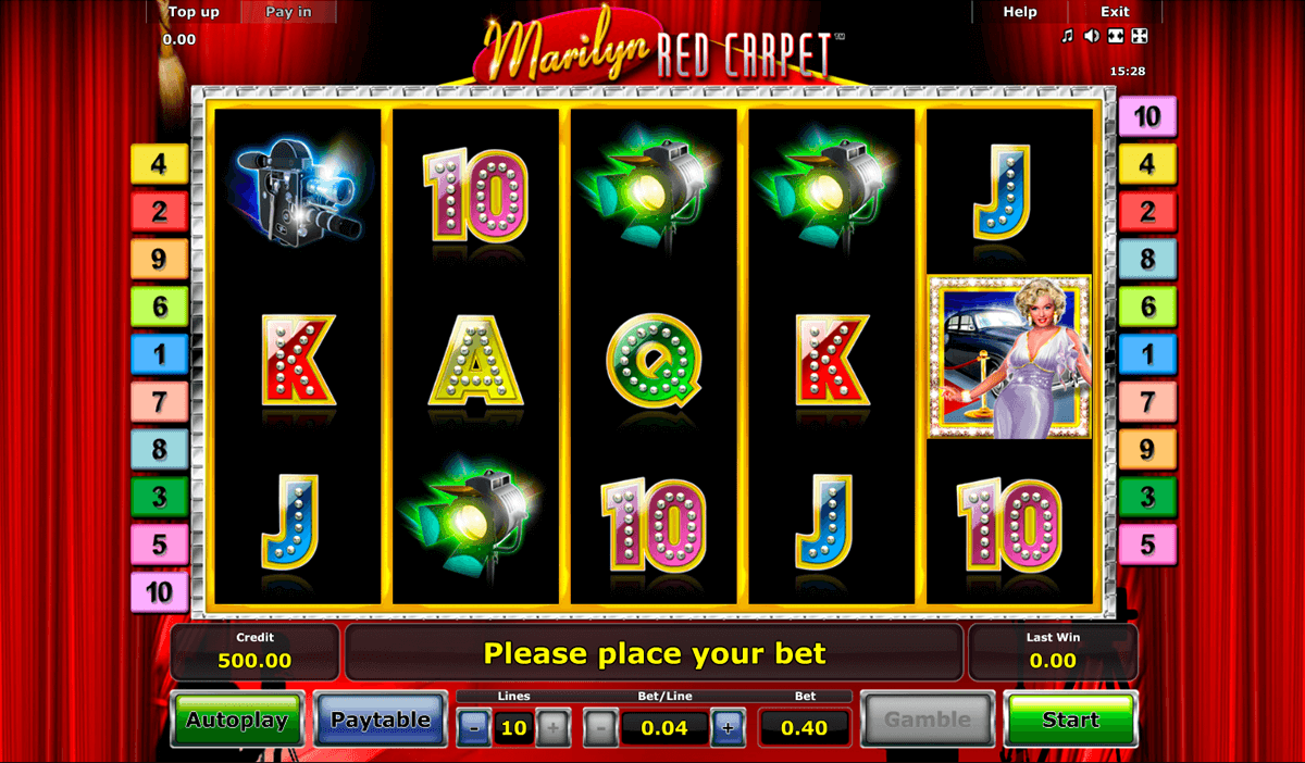 marilyn red carpet novomatic casino slot spel