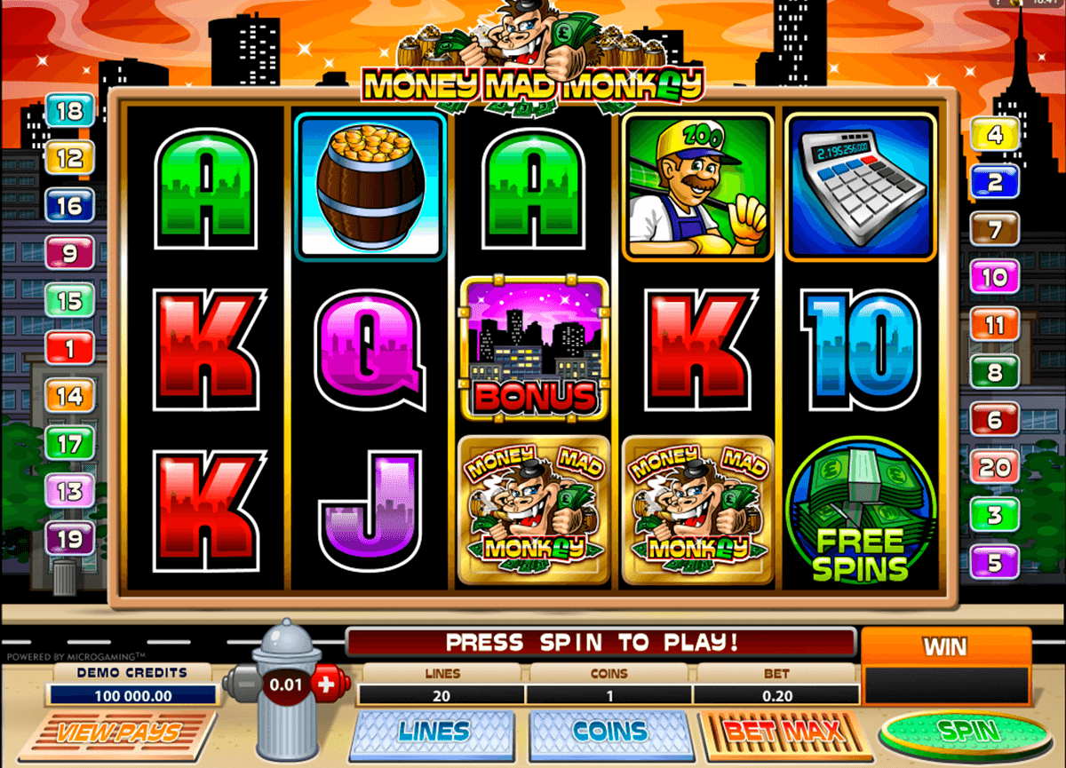 money mad monkey microgaming casino slot spel