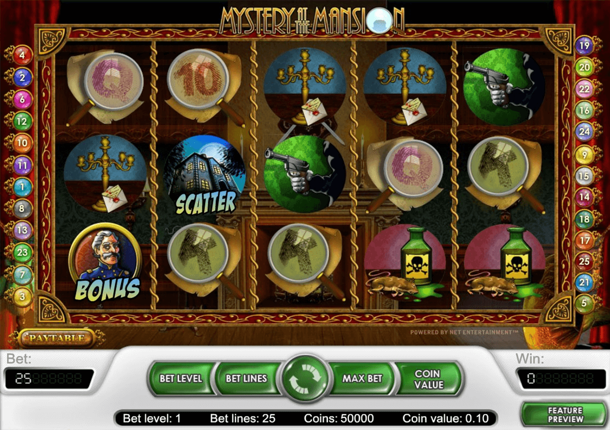 mystery at the mansion netent casino slot spel