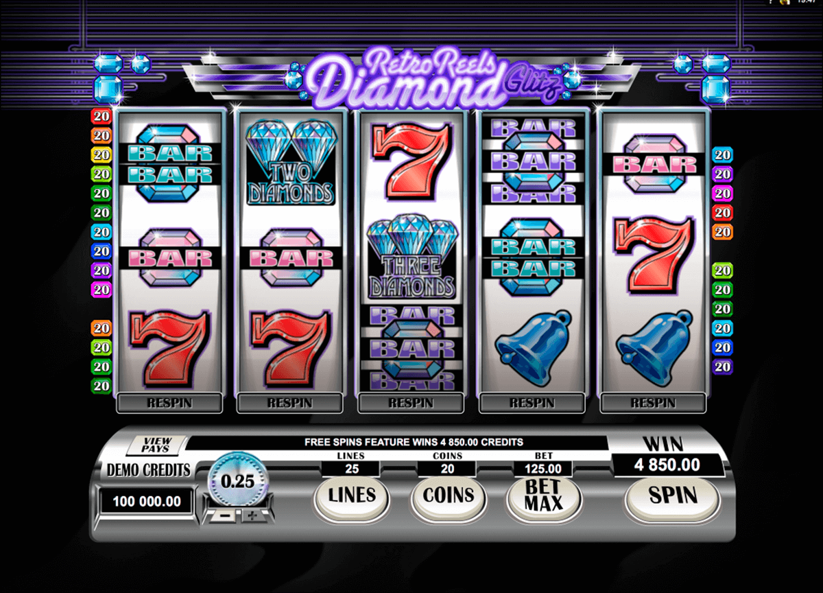 retro reels diamond glitz microgaming casino slot spel