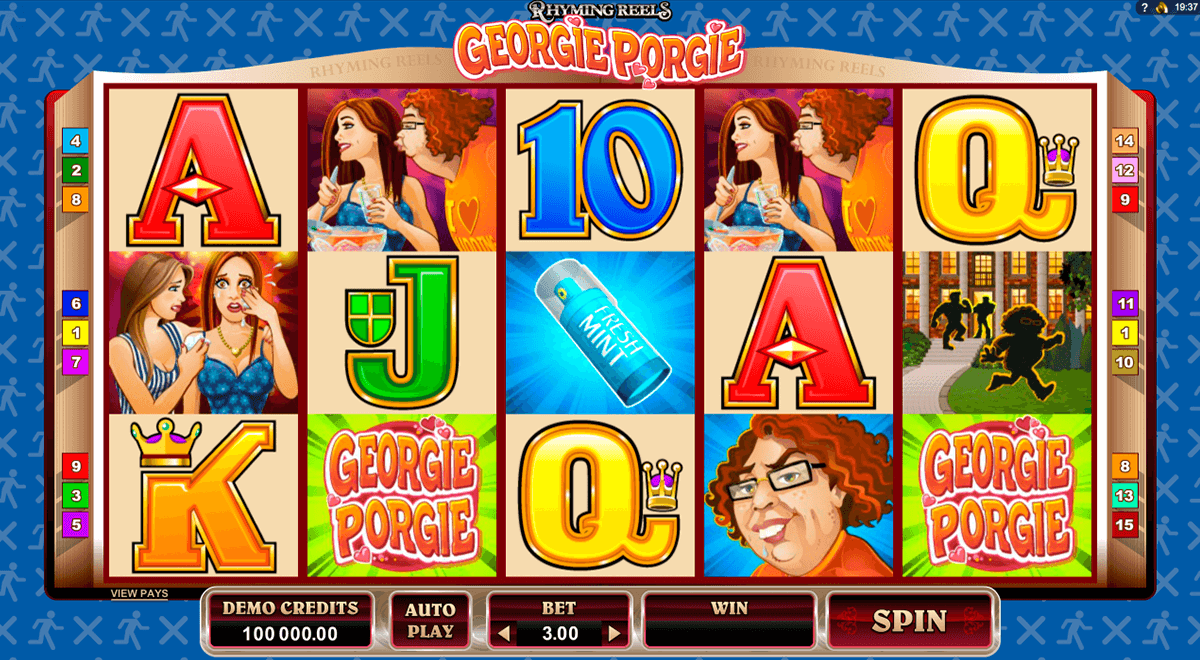 rhyming reels georgie porgie microgaming casino slot spel