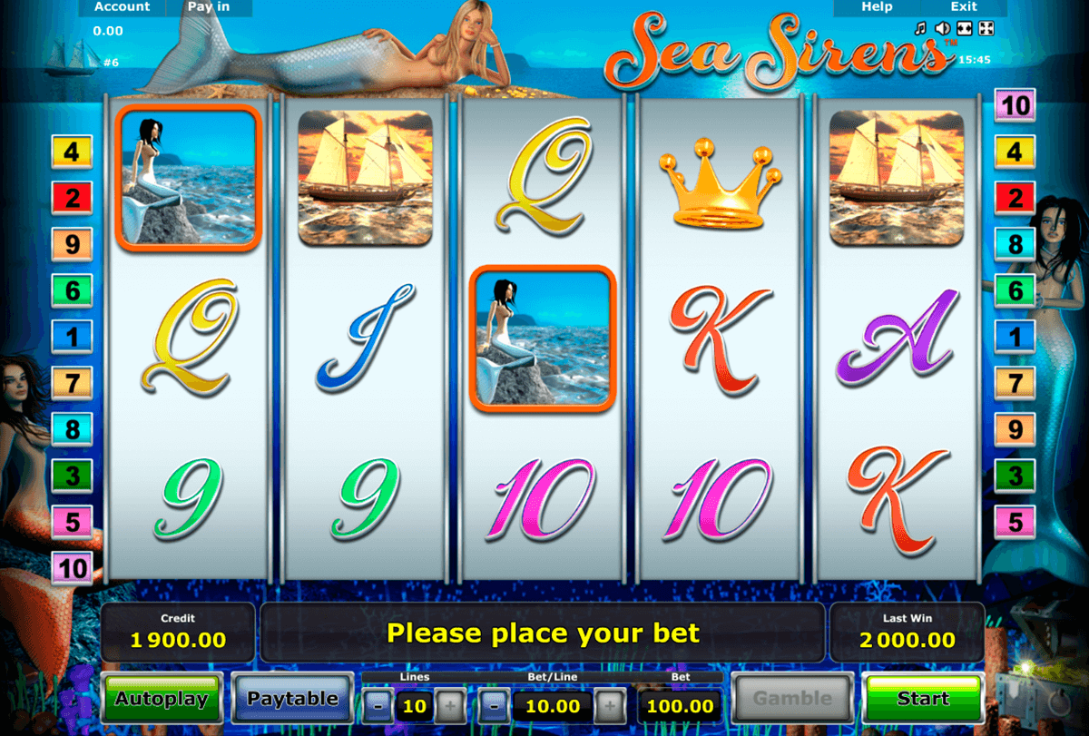 sea sirens novomatic casino slot spel