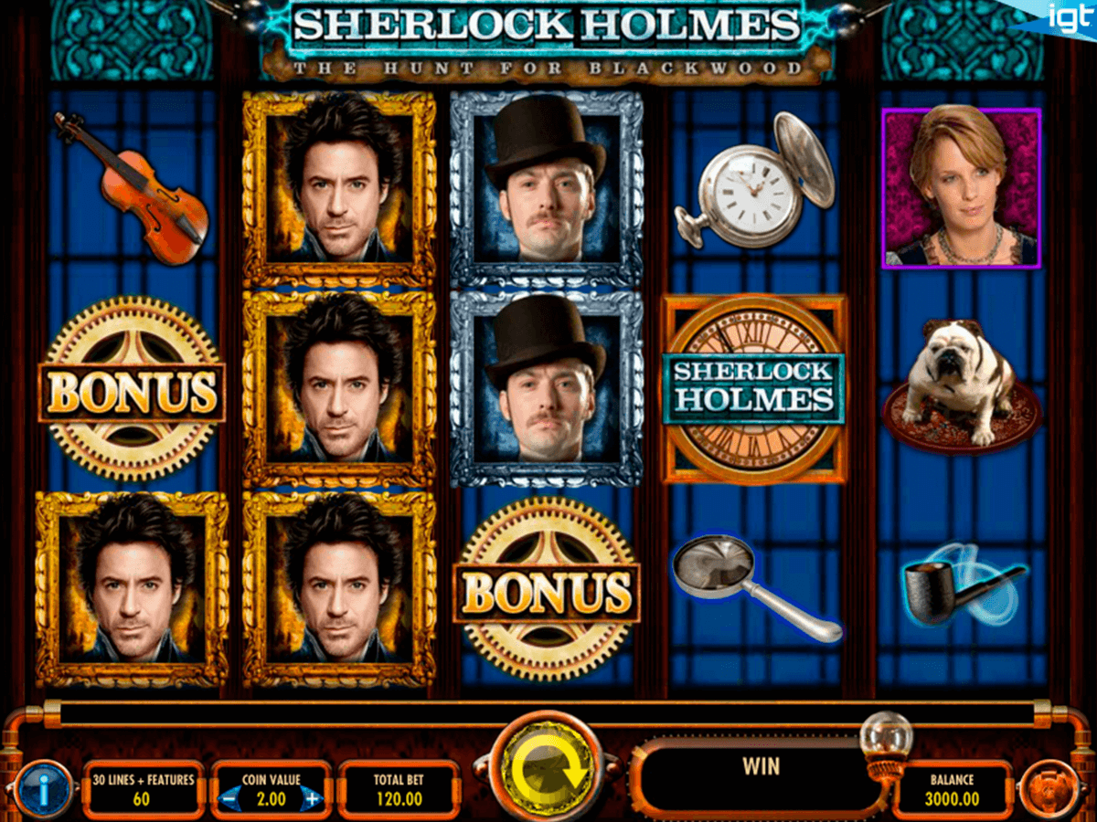 sherlock holmes the hunt for blackwood igt casino slot spel