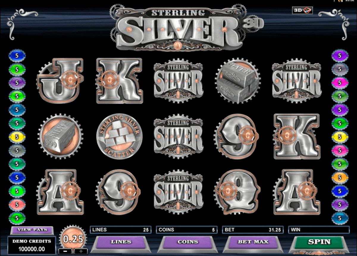 sterling silver 3d microgaming casino slot spel