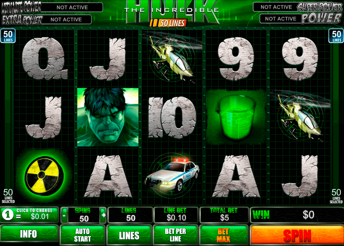 the incredible hulk 50 lines playtech casino slot spel