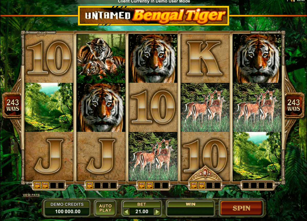 untamed bengal tiger microgaming casino slot spel