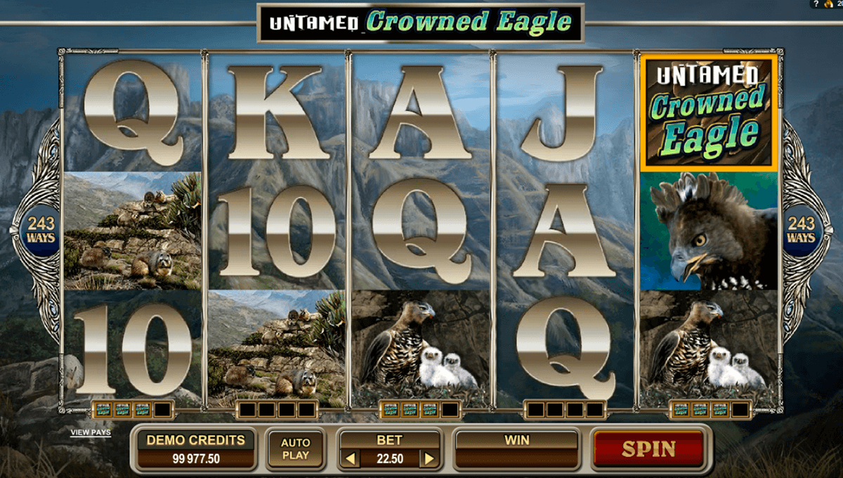 untamed crowned eagle microgaming casino slot spel