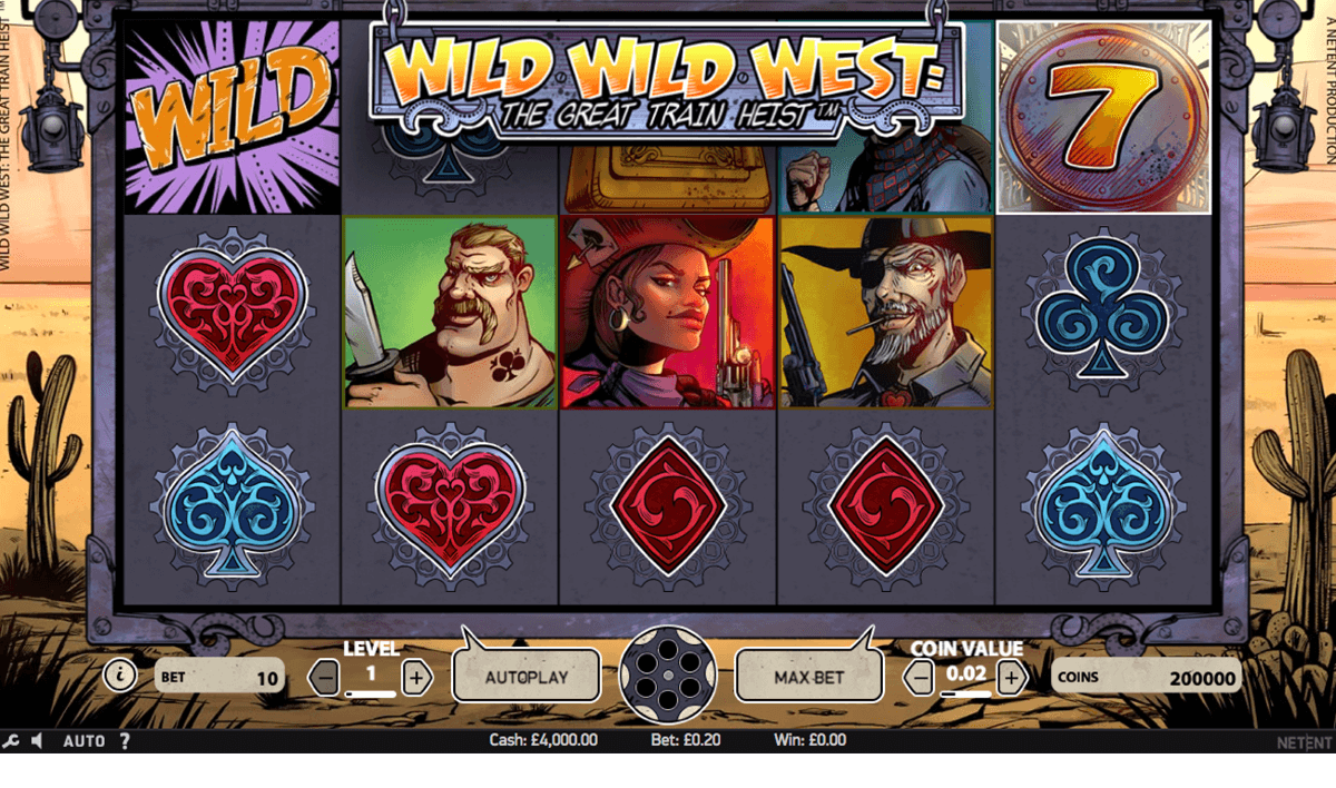 wild wild west the great train heist netent casino slot spel
