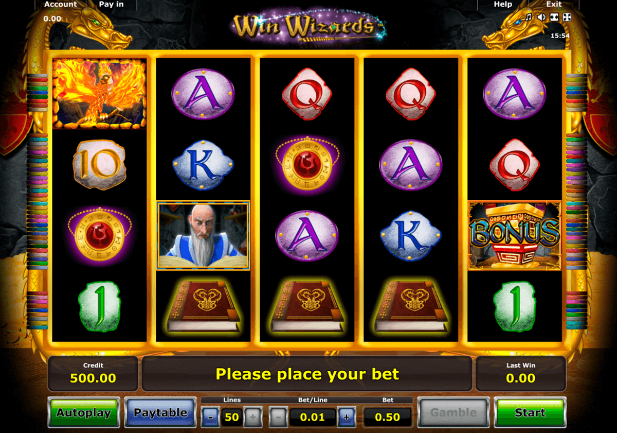 win wizards novomatic casino slot spel