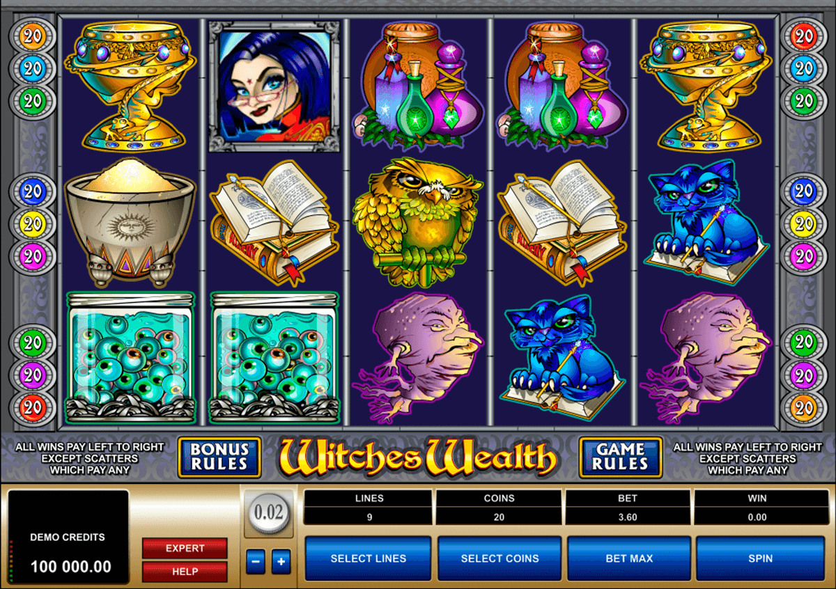 witches wealth microgaming casino slot spel